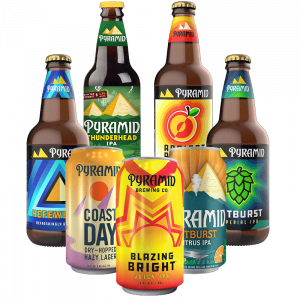 Group of all Pyramid Brewing beers available year round. This includes Pyramid Thunderhead IPA, Pyramid Hefeweizen, Pyramid Blazing Bright IPA, Pyramid Coast Day Dry-Hopped Lazy Lager, Pyramid Outburst Citrus IPA, Pyramid Outburst Imperial IPA, and Pyramid Apricot Ale